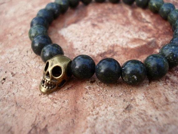 Skull Bracelet, Goth Bracelet, Bracelet Men, Stretch Bracelet, Bead Bracelet, Mens Jewelry, Mens Bracelet, Gemstone Bracelet, Boho Bracelet