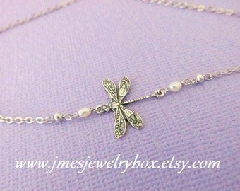 Silver dragonfly bracelet (adjustable)