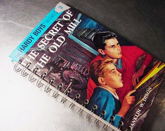 HARDY BOYS JOURNAL Secret of the Old Mill  Vintage Altered Book Notebook