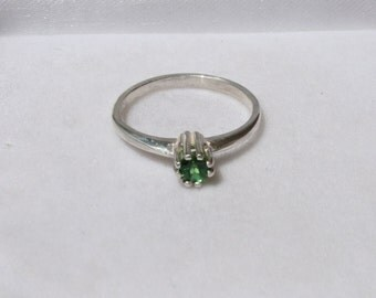 Chrome Tourmaline Ring Petite Round Solitaire Sterling Silver