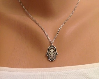 Hamsa Hand Necklace, Small Antique Silver Necklace, Boho jewelry, Protection Amulet, Birthday Gift for Mom Friend, Cheap gift