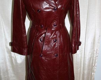 Vintage 1970s Etienne Ainger Leather Coat/ Belted Leather Coat/ Burgandy Leather Coat