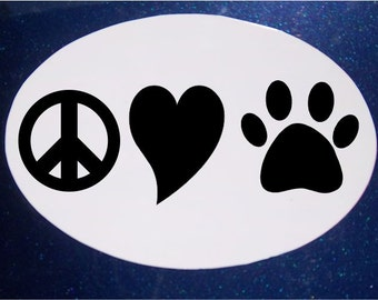 Peace Love  Pets Car Magnet, Oval Car Magnet, Rescue Pet, Pet Magnet, Dog Magnet, Heart Magnet, Paw Magnet, Cat Magnet