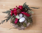 RESERVED for CATHY 100 Malts,  4 Natural Christmas Bird's with Burlap Ribbon Dried Grass Nest,  Christmas Tree Decor, Ornaments