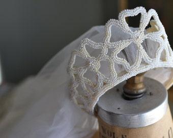 Antique Wedding Dress and Tiara Veil