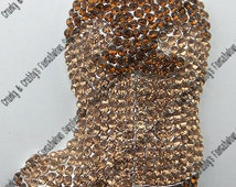 Brown Rhinestone Patterned Cowboy Boot Pendant - 48mm x 34mm - Western Brown