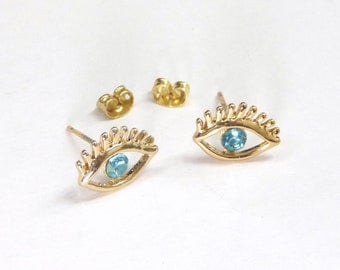 Rose gold plated eye earstud,rose gold plated eyes earrings with blue clear crystal,eyes earrings, eyes ear stud,blue crystal eyes ear studs
