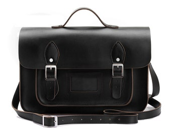 Large Wooster British Handmade Leather Satchel with Top Handle - Black
