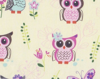 Owls on cream, cotton fitted crib/toddler sheet