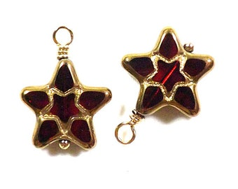 Red & Gold Star Bead Dangle Charms - Star Charms - Star Drop Beads (2, 4, 6, 8, or 10)