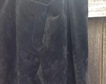 Vintage Black Suede Flare Pants