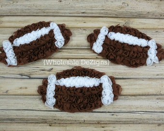 """Football Chiffon Rosettes - Brown and White Footballs - Sports Applique - 4"""" wide"""