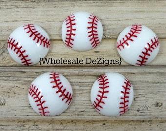 "Baseball Resins - 5 Red and White Base Ball Cabochons - Flat Back Acrylic Embellishment 1"""