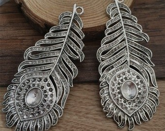 3pieces 33*79mm  Feather charm  -  antique Silver charm pendant  Jewelry Findings