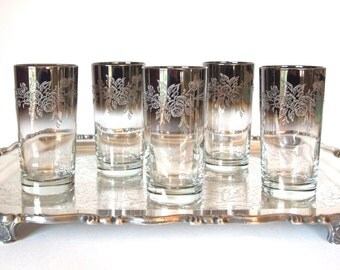 Vintage Drinking Glasses Tumblers Silver Ombre Silver Fade Rimmed Embossed with Flower Design - 12 oz  - Set of 5 Mid Century Glassware
