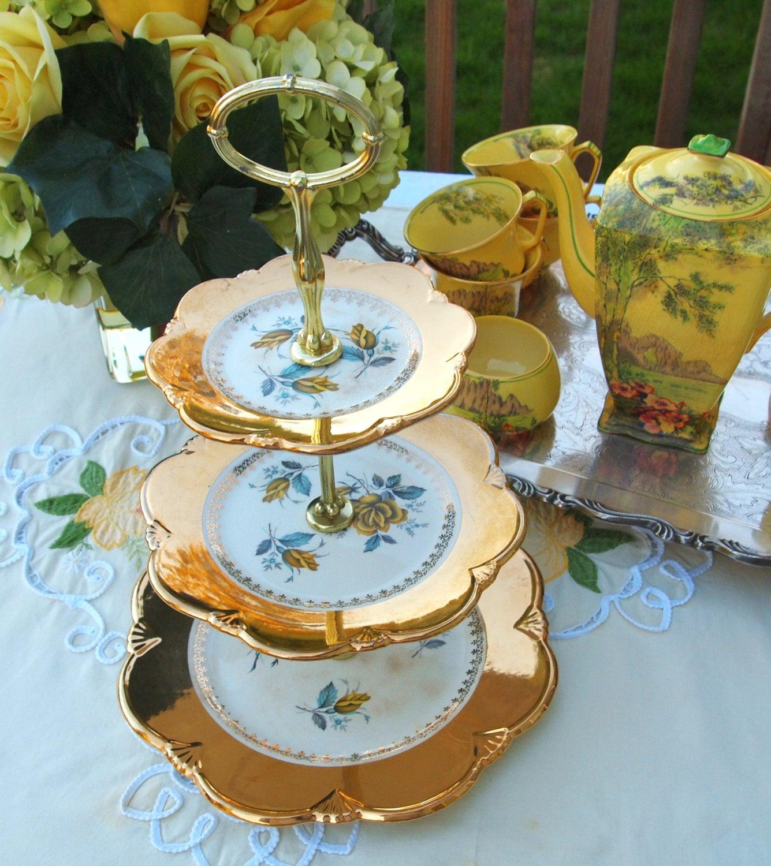 Vintage Royal Winton Grimwades China 3 Tiered Tidbit Stand