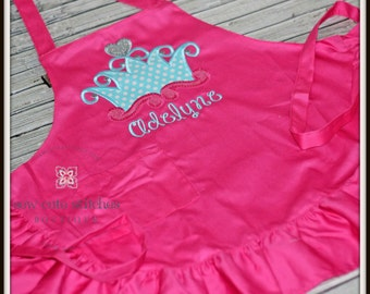 Little Girls Ruffle Monogrammed Apron - Girls Monogrammed Apron - Little Girls Apron