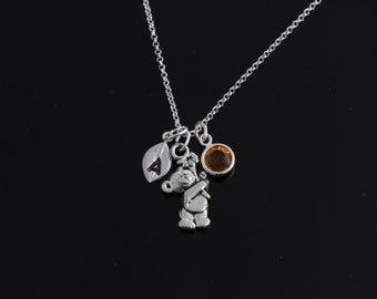 Personalized teddy bear Necklace on Sterling Silver chain, your Birthstone bear Necklace, silver teddy bear Necklace sterling silver chain
