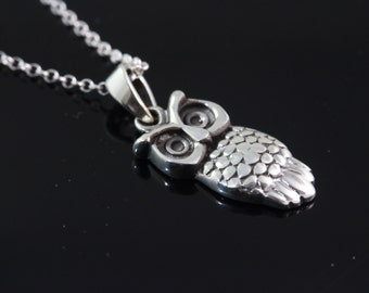 925 Sterling silver owl Necklace, Silver owl Jewelry, owl pendant necklace, sterling silver owl jewelry