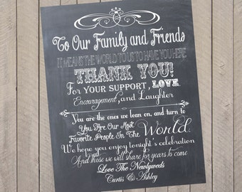 Wedding Thank You Sign, Wedding Program, Personalized Chalkboard Wedding Thank You Guest Book or Reception Sign-  PDF File
