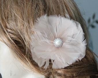 Cute cream  color  feather  clip
