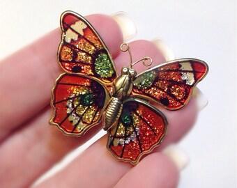 Butterfly Pin Orange Enameled Metallic Goldtone Brooch