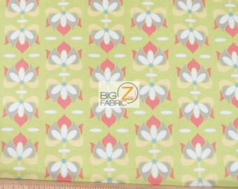 "100% Cotton Fabric By Lila Tueller For Riley Blake - Priscilla Lime - 45"" Width Sold By The Yard (FH-1549)"