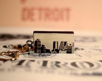 Detroit Skyline on Vintage Domino Keychain
