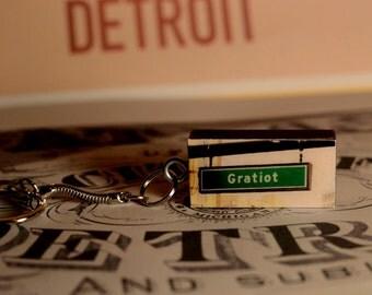 Gratiot Ave, Detroit, Michigan on Vintage Domino Keychain