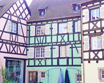 Pastel Fachwerkhaus, France Photography, Pastel, Architecture, Travel Photography, Art Print, Wall Decor