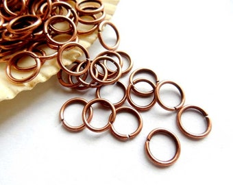 50/100 Antique Copper Jump Rings 8mm, Open Loop - 10-AC-8OL