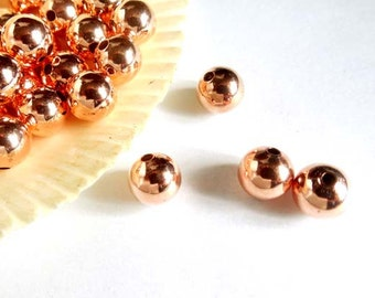 25 Rose Gold Plated Spacer Beads - 8mm - 28-21