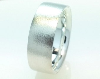 Flat Wedding Band Ring 8mm 925 Sterling Silver,8mm His or Her,Hard Matte,Comfort Fit,Inside Polished,Wedding Ring,All Sizes One Price