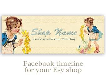 Vintage children Facebook timeline banner cover Digital facebook