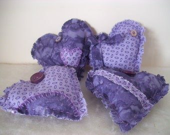 Country Hearts, Purple, Lavender, Bowl Fillers, Ornaments, Handmade,Primitive, Country Decor, Cottage Chic, Home Decor, Fabric, Party Decor