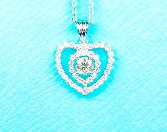 18K white gold 1.50ct Heart diamond pendant.