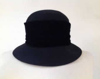 Vintage Wool Felt Black Hat Made in Italy