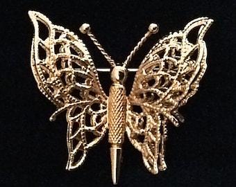 Vintage Monet 3D Gold-tone Filigree Butterfly Brooch