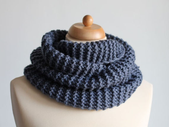 Blue Ribbed Scarf Chunky Knit Scarf Loop Neck Warmer Cozy