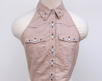 SALE Western Studded Crop Top // Tie Off Backless Shirt