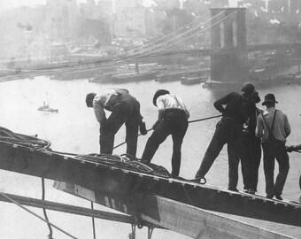 MANHATTAN BRIDGE Under Construction with Brooklyn Bridge in Background - Vintage Photo Art Print - Ready to Frame!