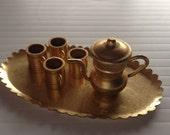 Brass Miniature Dollhouse figurine furniture collectable - 6 pc tea coffee set