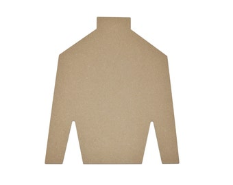 "Jockey Shirt  Shape Jesey Cut Out Unfinished MDF 12""inch Part#  MJS12"