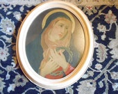 Antique Our Lady of Sorrows Catholic Artwork Painting Chippy Wood Frame Religious Icon Crown of Thorns Christian Gift