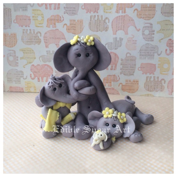Twin Baby Shower Cake Toppers: TWIN BABY SHOWER Elephant Cake Topper Mamma And By