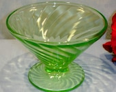 Spiral by Anchor Hocking Green Depression Glass Sherbet, cone