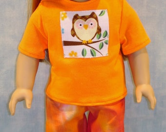 Owl on Orange Tie Dyed Pantsuit made to fit 18 inch dolls