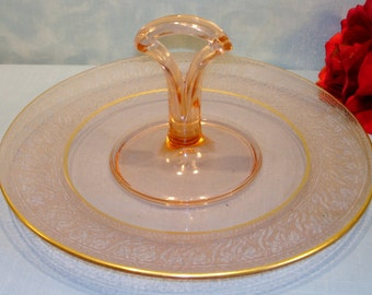 Pink Depression Glass Handled Etched Plate, 10 inch