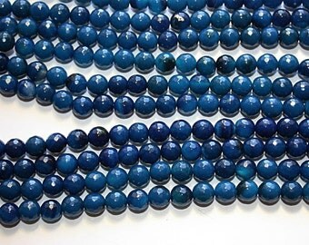 Faceted Blue Agate Beads 8mm 15.5 inch z360