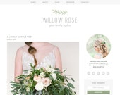 "Wordpress Theme Premade Blog Template Design - ""Willow Rose"" Instant Digital Download"